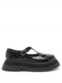 BURBERRY Aldwych crocodile-effect leather T-bar flats / croc embossed flat t-bar shoes / chunky sole
