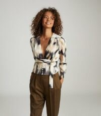 Reiss ALENA SMUDGE-PRINT BLOUSE BLACK – feminine design blouses – wrap around tie waist detail