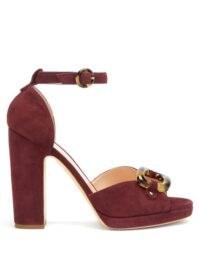 RUPERT SANDERSON Aletha tortoiseshell-buckle suede sandals in burgundy ~ block heel ankle strap sandal ~ vintage look high heels ~ retro shoes