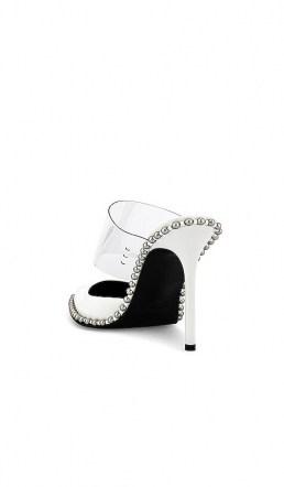 Alexander Wang Rina Mule White | stud embellished clear strap mules