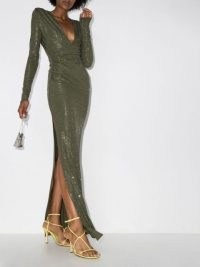 Alexandre Vauthier crystal embellished gown in green ~ sparkling slinky gowns