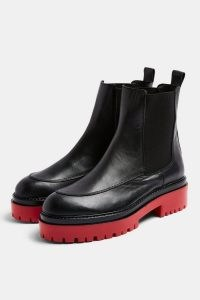 TOPSHOP ALONZO Black And Red Chunky Leather Boots ~ thick sole footwear ~ contrast chelsea boot