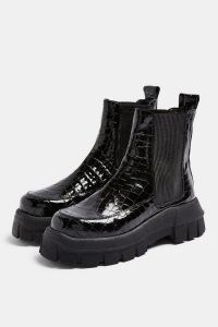 TOPSHOP ALPHA Black Crocodile Chunky Chelsea Boots / thick sole croc effect leather boot
