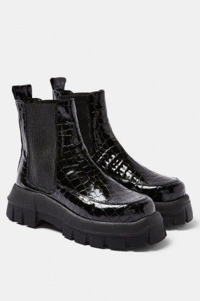 TOPSHOP ALPHA Black Crocodile Chunky Chelsea Boots / thick sole croc effect leather boot - flipped