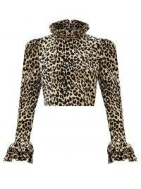 BATSHEVA Amy leopard-print velvet blouse – ruffled animal print blouses