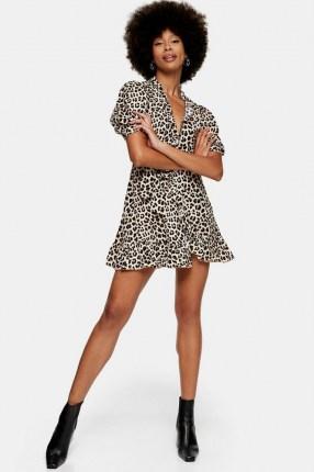 TOPSHOP Animal Print Wrap Dress / leopard print / ruffle trim mini dresses - flipped