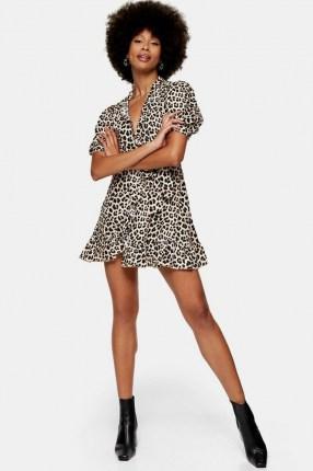 TOPSHOP Animal Print Wrap Dress / leopard print / ruffle trim mini dresses