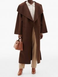 TOTÊME Annecy double-faced wool-blend coat – chic brown wide collar coats – stylish winter outerwear