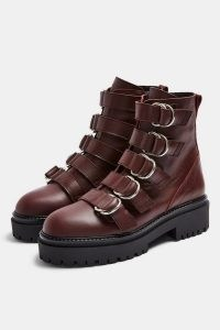 AQUARIUS Burgundy Chunky Leather Boots ~ dark red buckled ankle boot ~ thick sole footwear