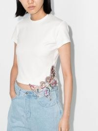 AREA crystal-embellished cotton T-shirt / luxe white crop hem tee
