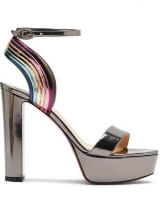 CHRISTIAN LOUBOUTIN Arkendisc 130 patent leather platform sandals in grey ~ glamorous vintage style platforms ~ high party heels ~ glamorous evening shoes