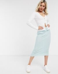 ASOS DESIGN co-ord chunky knit cardigan and skirt in mint
