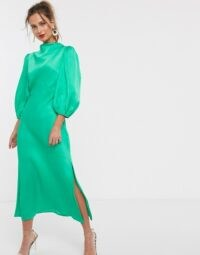 ASOS DESIGN cowl neck satin tea midi dress with puff sleeve in emerald green – slinky vintage look dresses