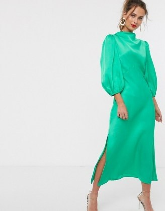 ASOS DESIGN cowl neck satin tea midi dress with puff sleeve in emerald green – slinky vintage look dresses - flipped
