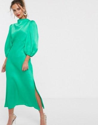 ASOS DESIGN cowl neck satin tea midi dress with puff sleeve in emerald green – slinky vintage look dresses