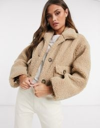 ASOS DESIGN cropped borg jacket in camel | textured teddy jackets
