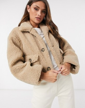 ASOS DESIGN cropped borg jacket in camel   textured teddy jackets - flipped