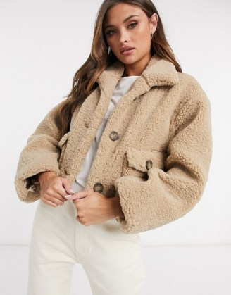 ASOS DESIGN cropped borg jacket in camel   textured teddy jackets