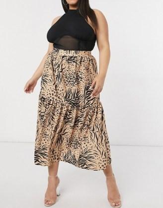 ASOS DESIGN Curve maxi skirt in animal print / plus size skirts - flipped