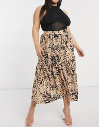 ASOS DESIGN Curve maxi skirt in animal print / plus size skirts