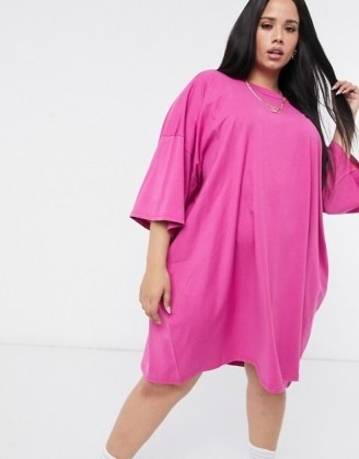ASOS DESIGN Curve oversized t-shirt dress in berry – wow! Just look at that colour! - flipped