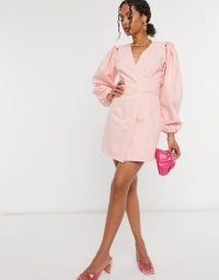 ASOS DESIGN denim wrap puff sleeve mini dress in light pink