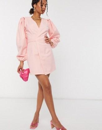 ASOS DESIGN denim wrap puff sleeve mini dress in light pink - flipped