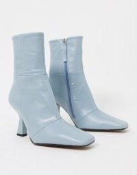 ASOS DESIGN Elodie premium leather square toe heeled boots in pale blue – side zip flared heel boots