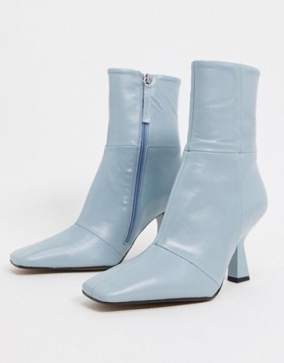 ASOS DESIGN Elodie premium leather square toe heeled boots in pale blue – side zip flared heel boots - flipped