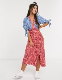 ASOS DESIGN midi tea dress with tie sleeves and buttons in mixed floral print / flower printed colour block dresses