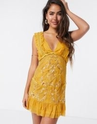 ASOS DESIGN mini dress with eyelet trim and embroidery in mustard | yellow deep plunge front dresses
