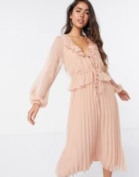 ASOS DESIGN soft pleated midi dress with drawstring waist and frills in blush | light pink ruffle trimmed dresses