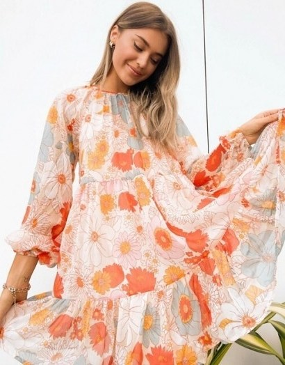 ASOS DESIGN tiered smock mini dress in retro floral print | 70s style flower prints | seventies look fashion - flipped