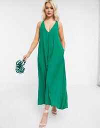 ASOS DESIGN v neck minimal smock jumpsuit in emerald | green relaxed fit wide leg jumpsuits | deep V neckline