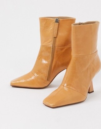 ASOS DESIGN Wide Fit Elodie premium leather square toe heeled boots in natural – angled heel boots - flipped