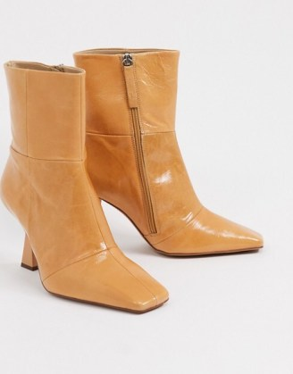 ASOS DESIGN Wide Fit Elodie premium leather square toe heeled boots in natural – angled heel boots