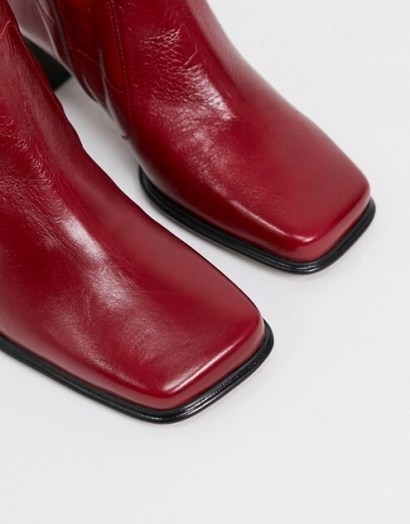 ASOS DESIGN Wide Fit Roisin premium leather square toe boots in red – autumn colours - flipped