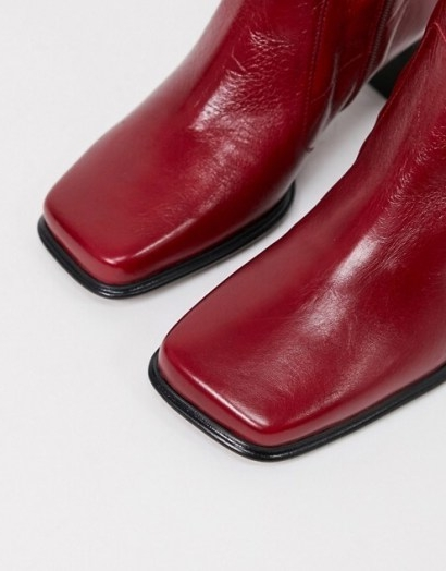 ASOS DESIGN Wide Fit Roisin premium leather square toe boots in red – autumn colours