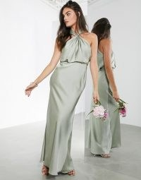 ASOS EDITION satin ruched halter neck maxi dress in sage green ~ occasion wear ~ long party dresses ~ halterneck bridesmaid gown