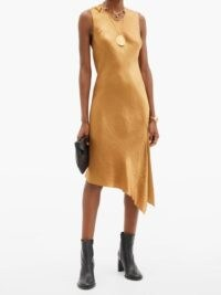 ANN DEMEULEMEESTER Asymmetric-hem crinkled-satin dress ~ asymmetrical hemline dresses