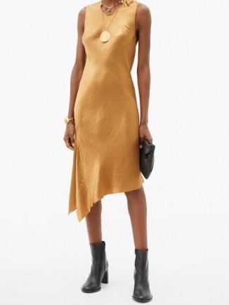 ANN DEMEULEMEESTER Asymmetric-hem crinkled-satin dress ~ asymmetrical hemline dresses - flipped