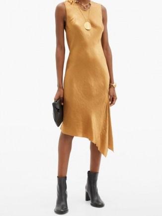 ANN DEMEULEMEESTER Asymmetric-hem crinkled-satin dress ~ asymmetrical hemline dresses