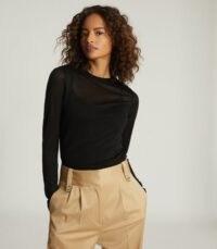 REISS AURELLIE SEMI-SHEER SLIM-FIT TOP BLACK / fine knit crew neck tops