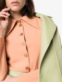 A.W.A.K.E. Mode wide collar button-up shirt in orange – oversized pointed collars