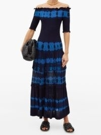 ALTUZARRA Ayaka off-the-shoulder shirred dyed dress in navy ~ longline bardot dresses ~ hems with swish