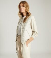 REISS AYLA HYBRID ZIP THROUGH QUILTED JUMPER NEUTRAL / casual jackets