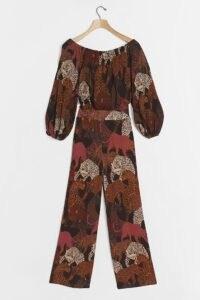 Farm Rio Animalia Jumpsuit Brown Motif / leopard prints / wild cat print jumpsuits