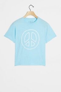 Retro Brand Peace Sign Cropped Graphic Tee Light Blue / printed cotton T-shirts