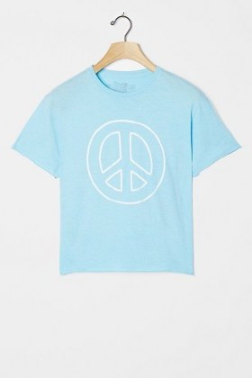 Retro Brand Peace Sign Cropped Graphic Tee Light Blue / printed cotton T-shirts - flipped