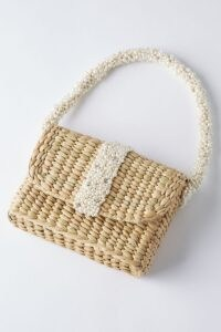 ANTHROPOLOGIE Beaded Clutch Bag Neutral / cute raffia and bead top handle handbag